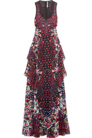 Macarthur ruffled printed silk-chiffon maxi dress