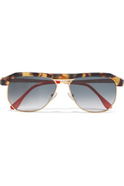 Miami aviator-style tortoiseshell acetate and gold-tone sunglasses