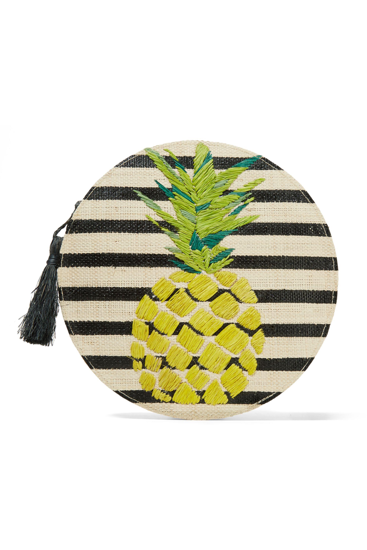 Kayu Luna striped woven straw shoulder bag