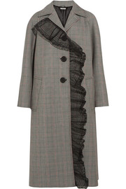 Houndstooth wool and mohair-blend coat