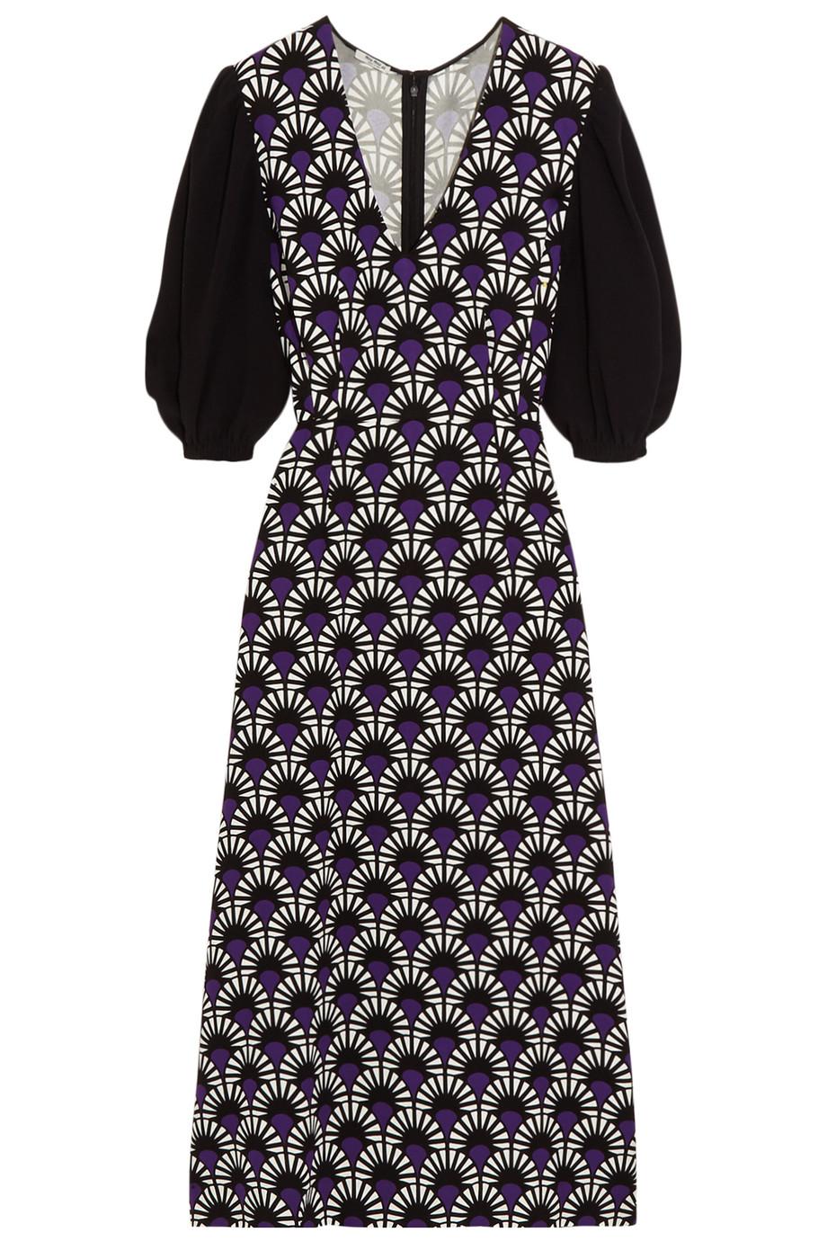 Miu Miu Printed Crepe Midi Dress, Purple, Women's - Printed, Size: 36