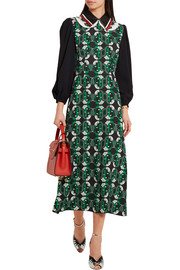 Miu Miu Leather-trimmed printed crepe midi dress