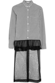 Checked cotton-poplin, ruffled lace and tulle-paneled dress