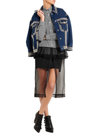 Miu Miu Checked cotton-poplin, ruffled lace and tulle-paneled dress