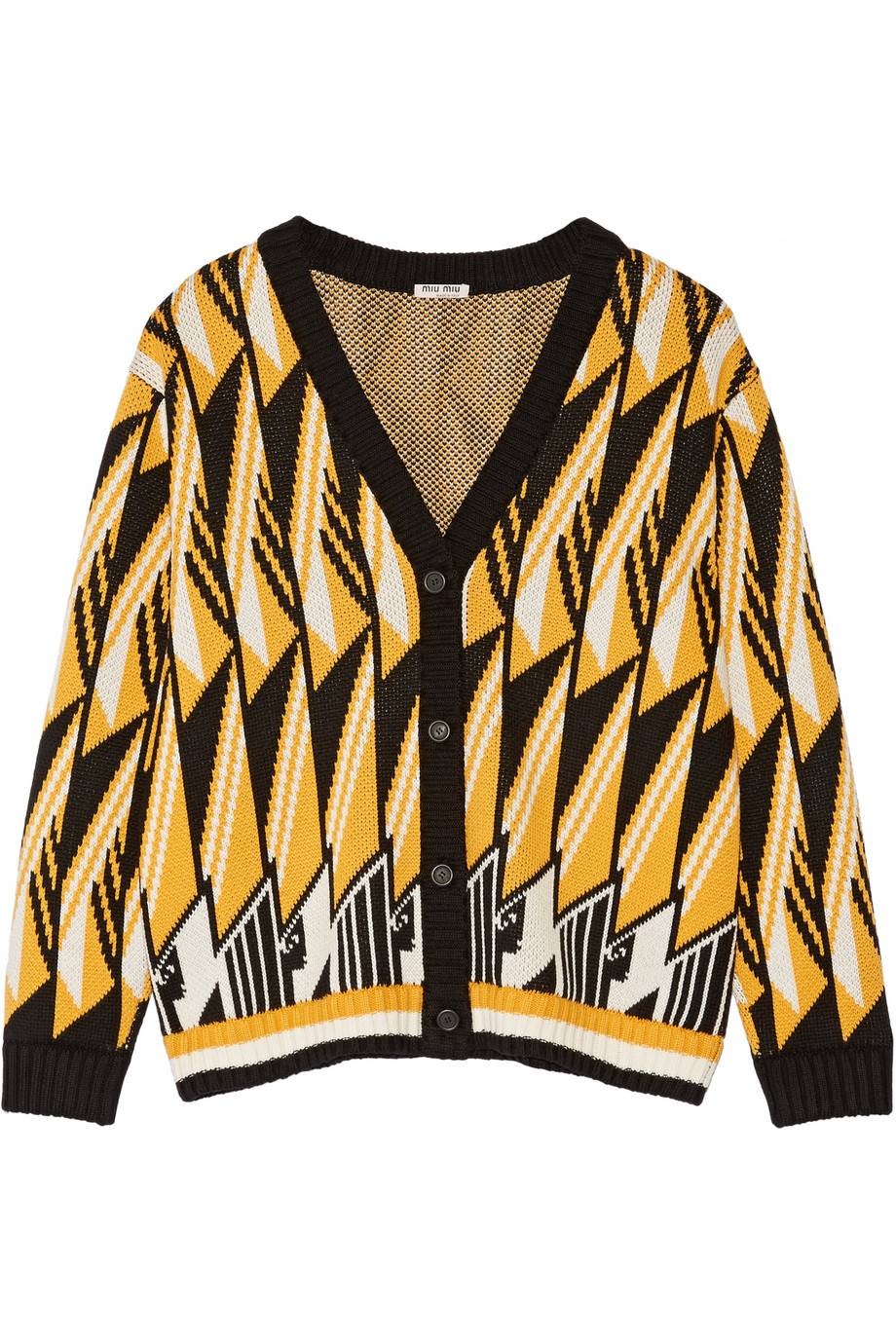 Miu Miu Oversized Wool-Jacquard Cardigan, Saffron, Women's, Size: 36