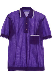 Miu Miu Wool-trimmed mesh polo shirt