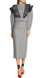 Miu Miu Glen plaid wool and mohair-blend pencil skirt