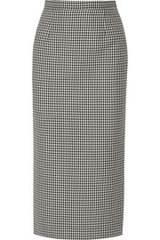 Checked wool and mohair-blend pencil skirt