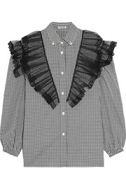 Ruffled lace and tulle-paneled cotton-poplin shirt