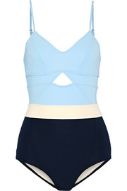 Joellen cutout color-block swimsuit