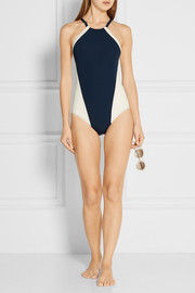 Nola color-block halterneck swimsuit