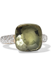 Nudo 18-karat rose and white gold, prasiolite and diamond ring