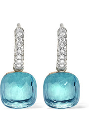 Nudo 18-karat white gold, topaz and diamond earrings