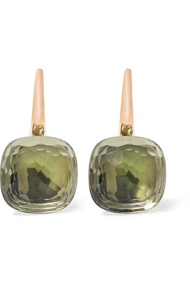 pomellato nudo classic 18 karat rose gold prasiolite earrings net a porter com. Black Bedroom Furniture Sets. Home Design Ideas