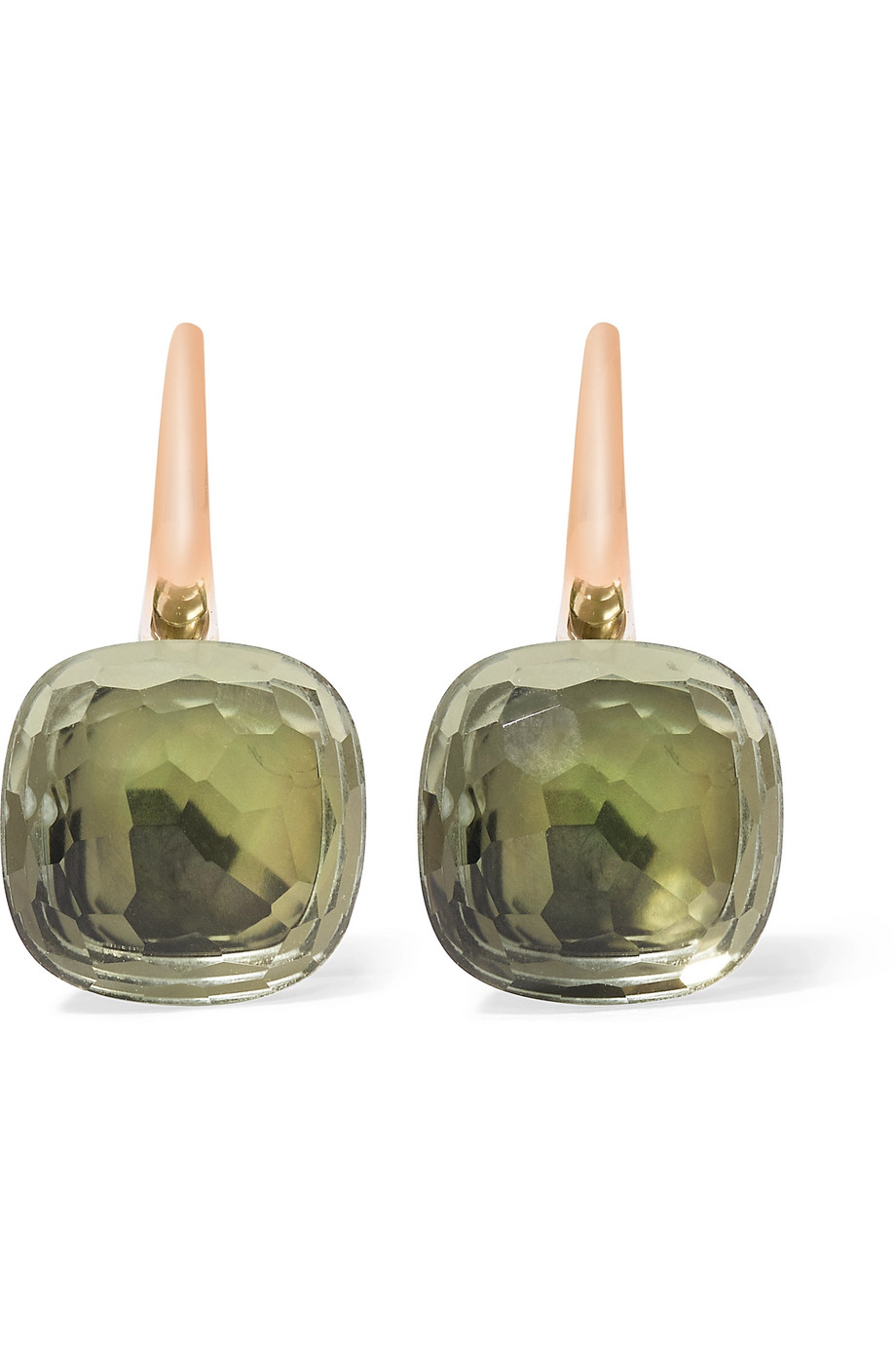 Nudo Classic 18-Karat Rose Gold Prasiolite Earrings, Rose Gold/Army Green, Women's