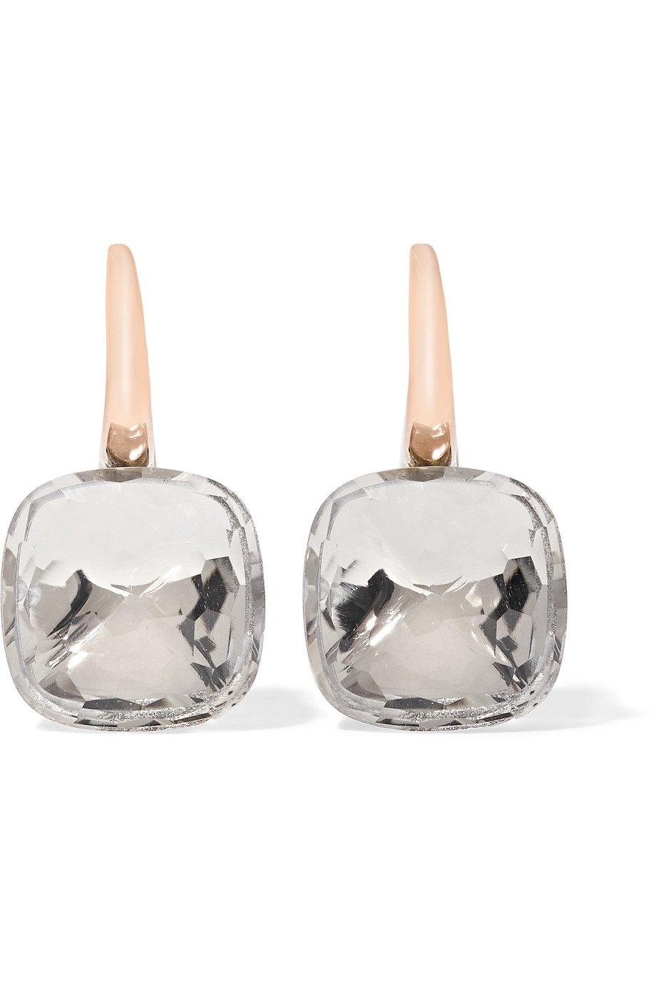 Nudo Classic 18-Karat Rose Gold Topaz Earrings, Rose Gold/Gray, Women's