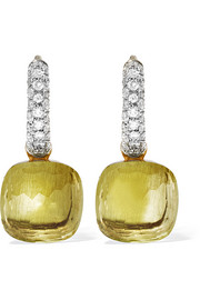 Nudo 18-karat white gold, quartz and diamond earrings