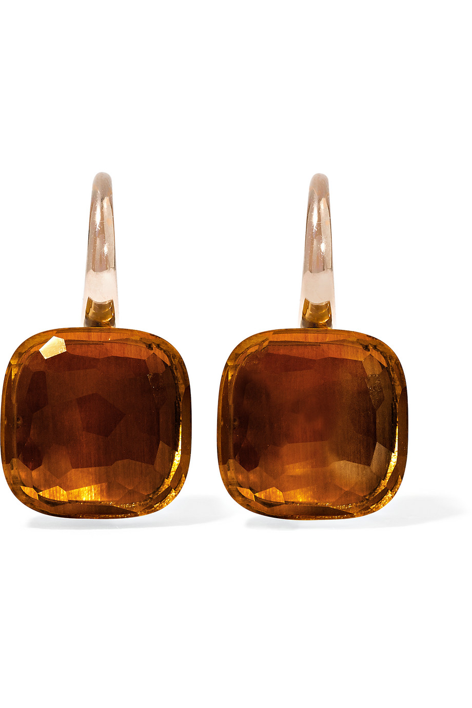 Nudo Classic 18-Karat Rose Gold Quartz Earrings, Rose Gold/Orange, Women's