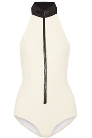 Lisa Marie ribbed cotton-blend swimsuit