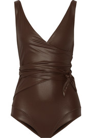 Dree Louise glossed wrap swimsuit