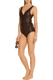 Lisa Marie Fernandez Dree Louise glossed wrap swimsuit