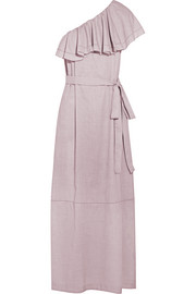Arden ruffled one-shoulder chambray maxi dress