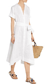 Lisa Marie Fernandez Cotton and linen-blend striped gauze shirt dress