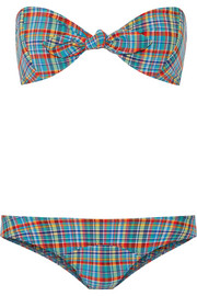 Poppy plaid bandeau bikini