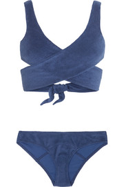 Marie-Louise cotton-blend terry wrap bikini