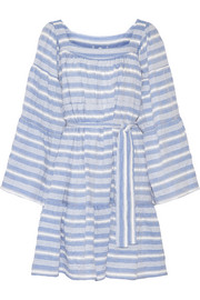 Striped cotton-blend gauze mini dress