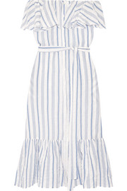 Lisa Marie Fernandez Mira off-the-shoulder striped cotton-blend gauze midi dress