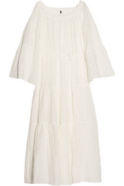 Cotton-blend voile maxi dress