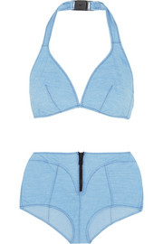 Davina stretch-denim halterneck bikini
