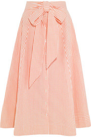 Lisa Marie Fernandez Pleated gingham cotton midi skirt