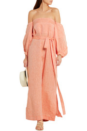 Lisa Marie Fernandez Off-the-shoulder linen maxi dress