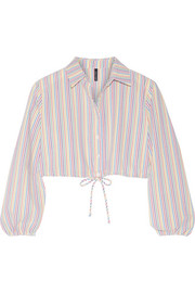 Lisa Marie Fernandez Cropped stripped seersucker shirt