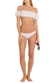 Lisa Marie Fernandez Leandra off-the-shoulder stretch-denim bikini