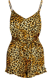 + Agent Provocateur leopard-print silk-satin playsuit