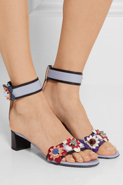 Floral-appliquéd leather sandals