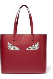 Fendi Shopper elaphe-trimmed leather tote