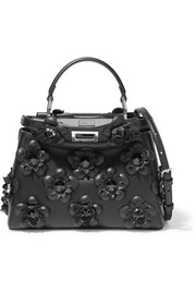 Fendi Peekaboo mini floral-appliquéd leather shoulder bag