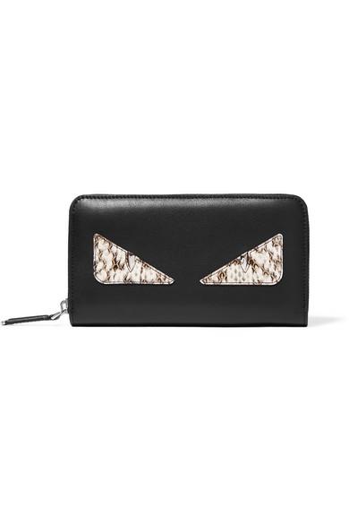 fendi female fendi monster eyes leather and elaphe continental wallet black