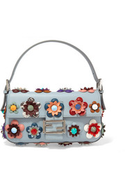 Fendi Baguette floral-appliquéd leather shoulder bag