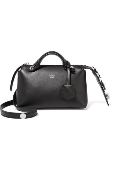 fendi female fendi by the way mini appliqued leather shoulder bag black