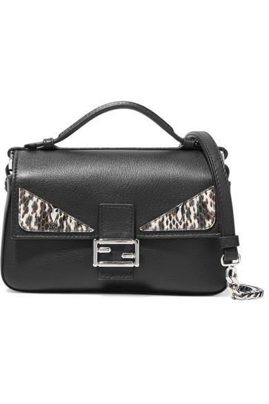 fendi female fendi double baguette micro elaphetrimmed leather shoulder bag black