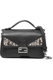 Fendi Double Baguette micro elaphe-trimmed leather shoulder bag