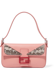 Fendi Baguette elaphe-trimmed leather shoulder bag