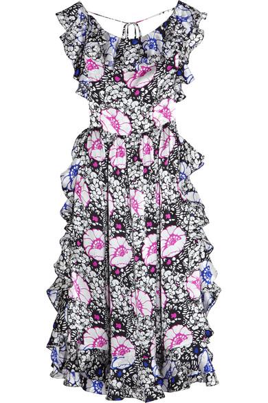 Duro Olowu - Ruffled Printed Silk-satin Midi Dress - Black