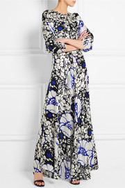 Zanzibar ruffled floral-print silk-satin maxi dress