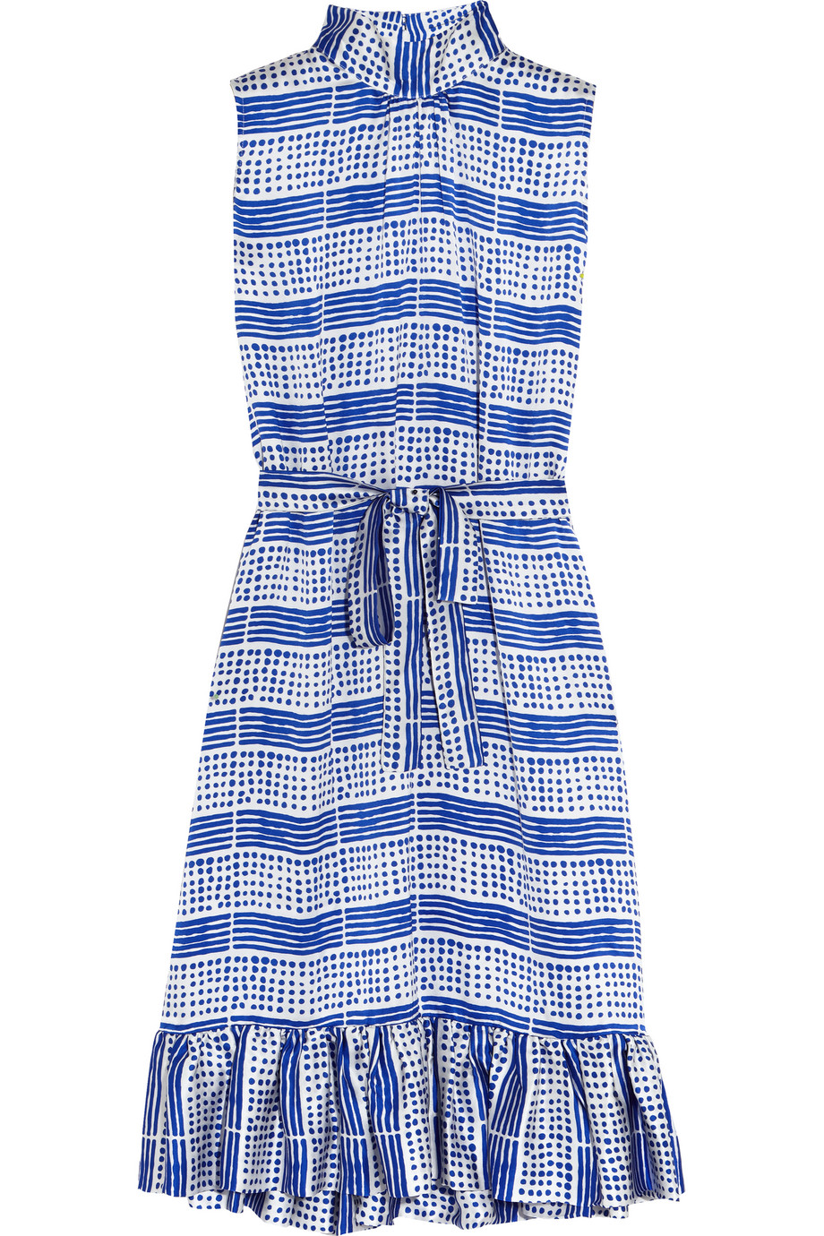 Duro Olowu Printed Silk-Satin Dress, Blue, Women's - Printed, Size: 6